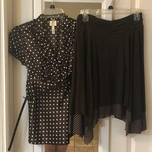 Dresses & Skirts - Brown and white polka dot Dress shirt and skirt.